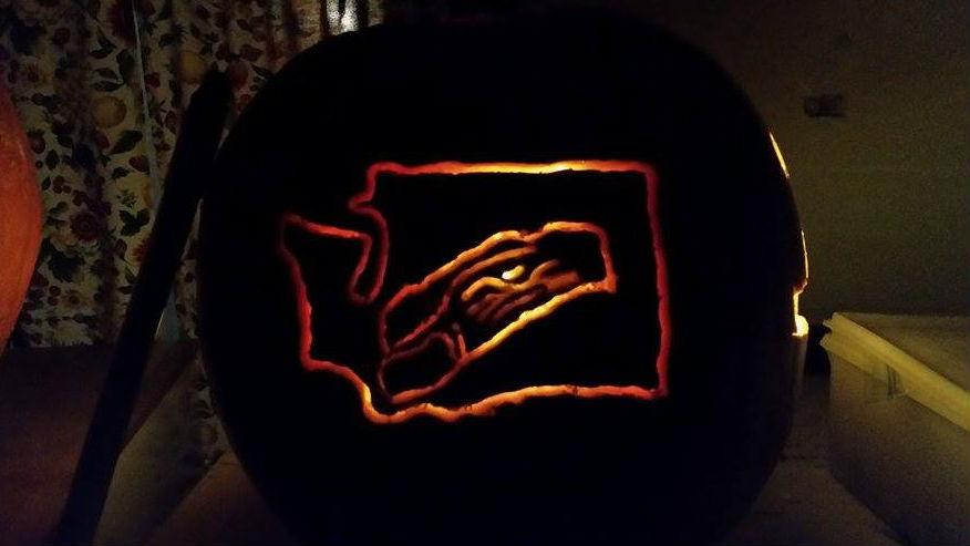Seattle Seahawks pumpkin from Lynn Shaffer Johnson