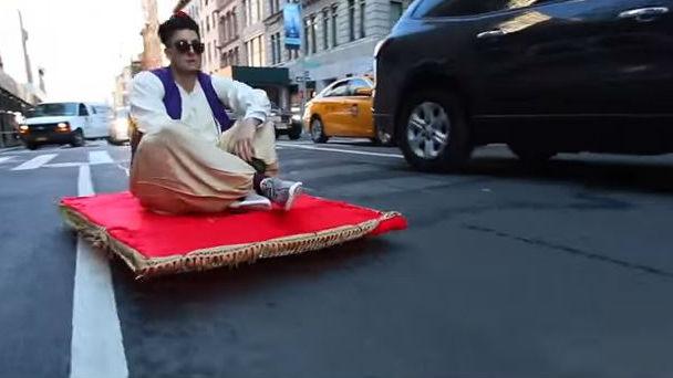 Cruising through New York in style. Photo: YouTube/PrankVsPrank