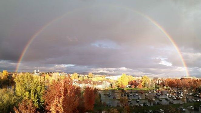 A rainbow was visible after showers Monday. Photo: Mike Clinesmith