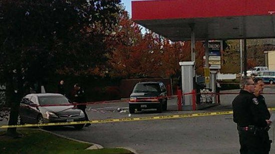 The scene from the gas station on Division Saturday.