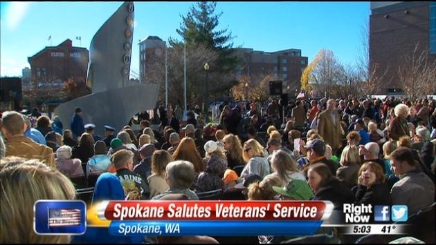 Spokane honors veterans' service at the Spokane Veterans Memorial Arena.
