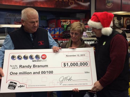 Randy Branum accepts his $1 million dollar prize