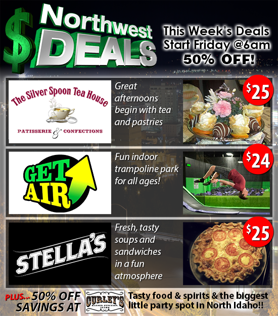 50% off The Silver Spoon Tea House, Get Air Spokane or Stella's Cafe