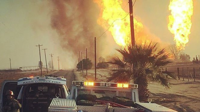 A ruptured natural gas line has caused an explosion that killed one person and injured three others in Central California. Photo: Kern County FD/Facebook