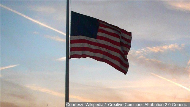 The U.S. flag is being lowered to half-staff at the White House, federal buildings across the country and American military and diplomatic stations around the world as a mark of respect for victims of the Paris attacks.