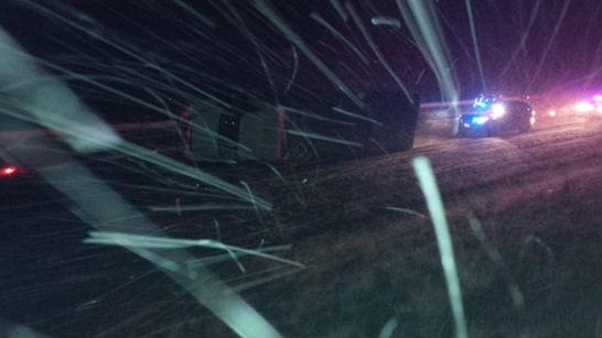 The scene of a semi crash Monday night.