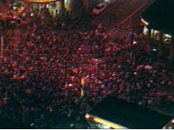 Crowds covered the streets in downtown Seattle to celebrate Democrats' victory