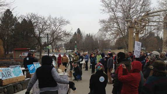 Around 100 people gathered in Spokane's Riverfront Park