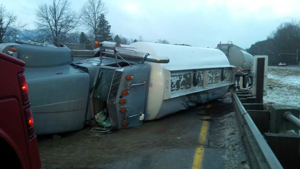 A fuel tanker rolled near North Bend early Friday morning