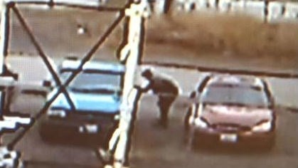 The thief was caught on surveillance video.
