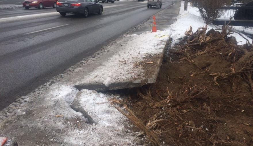 The property owner is responsible for the cleanup, and neighbors say they haven't been given a timeline for when the sidewalk is supposed to be finished.