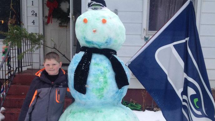 Zack's Seahawks snowman. Photo: Diana Bowdish