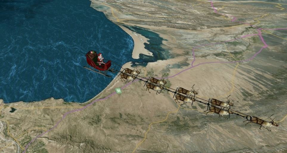 Santa making his journey across the world and being tracked by NORAD