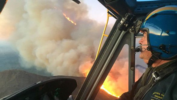 Helicopters made air drops on the fire Saturday. Photo: Ventura County Air Unit