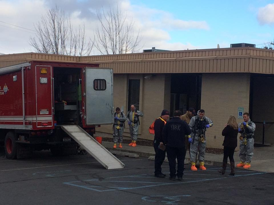 A suspicious substance on mail at the Social Security Office has the FBI investigating. (Photo Courtesy: Lewiston Fire Dept.)