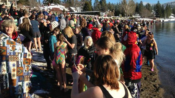 The crowd for the Polar Bear Plunge.