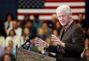 (AP Photo/Jim Cole). Former President Bill Clinton speaks during a campaign stop for his wife, Democratic presidential candidate Hillary Clinton, Monday, Jan. 4, 2016, in Nashua, N.H.