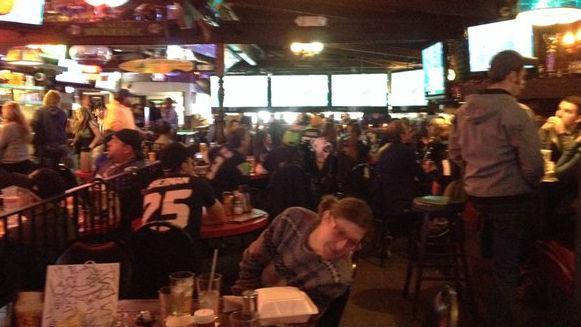 Hawks fans at Swinging Doors.