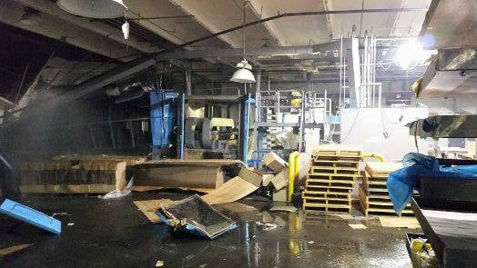 The scene inside the plant following the explosion.