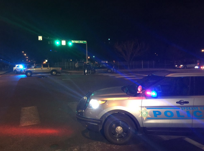 A woman is in the hospital with life-threatening injuries after she was run over while illegally crossing the road.
