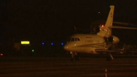 A plane carrying three of the Americans released from Iran landed in Geneva Sunday. Photo: NBC