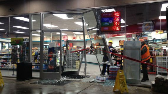 The scene at the Mobil station at Trent and Evergreen.