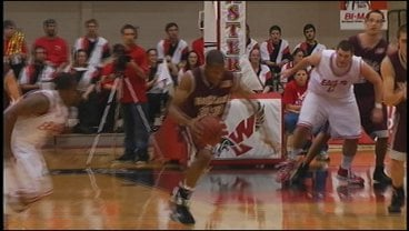 Montana's Anthony Johnson goes in for a layup after a steal (Photo: KHQ)