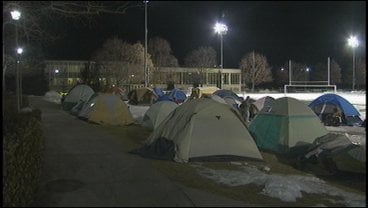 Dozens of Gonzaga students pitched tents early Monday morning to wait for their shot at tickets for Thursday's game against Saint Mary's (Photo: KHQ)