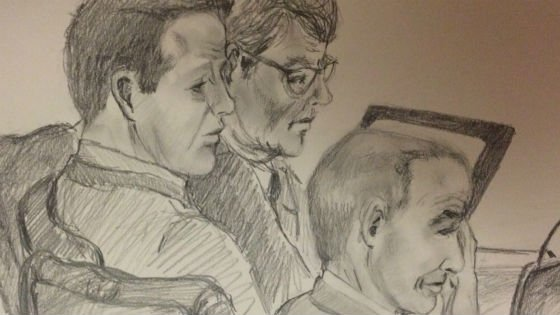 This courtroom sketch shows Henrikson (center) during testimony in February.