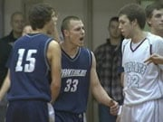 Mead's Ryan LaForte gets fired up after a foul by Mt. Spokane (Photo: KHQ)