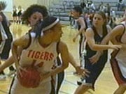 LC's Jeneva Anderson is trapped on the  baseline against Mead (Photo: KHQ)