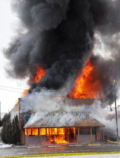 Fire destroys 3 Whitehall, Montana businesses Friday. Courtesy: Danny Pecka