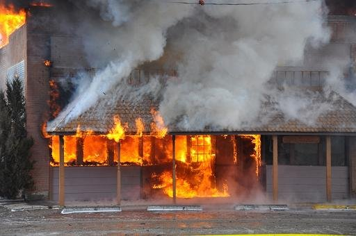 Fire engulfs a building in Whitehall, Montana Friday. Courtesy: Danny Pecka