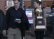 Gonzaga walked through the Spokane airport Tuesday with hardware in hand (Photo: KHQ)