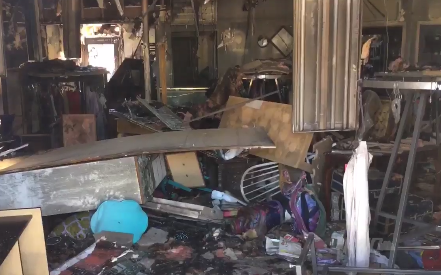 Three businesses were destroyed in the fire.