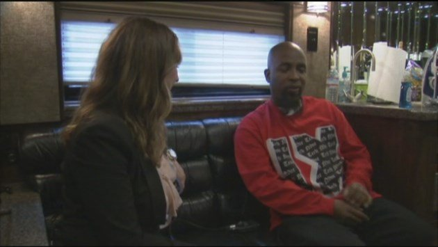 Tech N9ne on his tour bus talking to KHQ reporter Liz Burch, before his show at the Knitting Factory