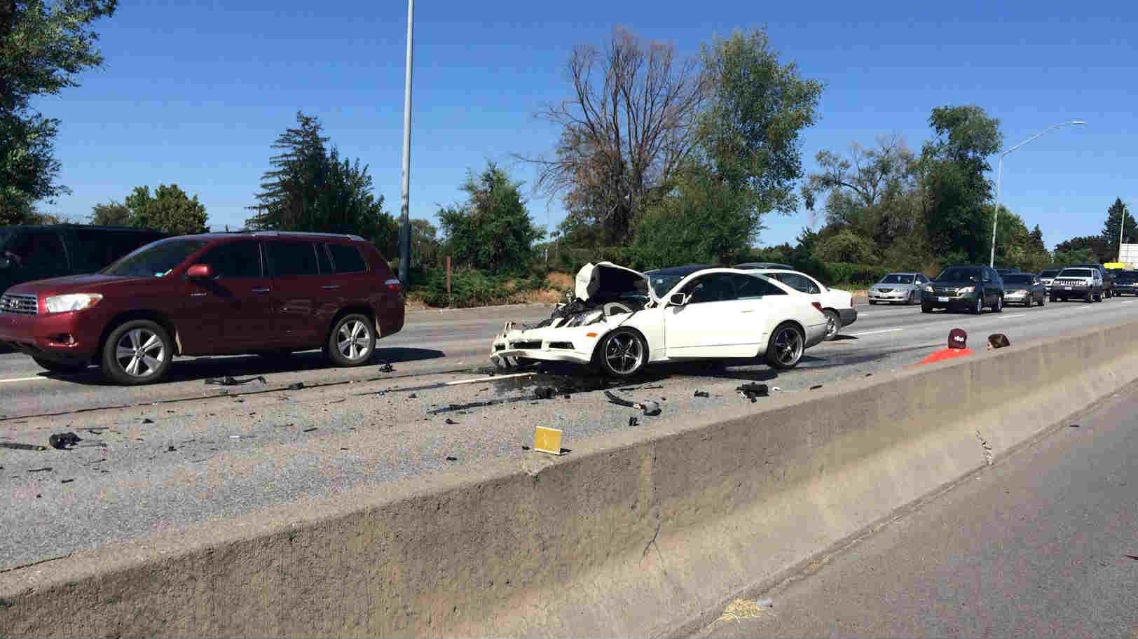 A two car crash blocked traffic on I-90 Westbound